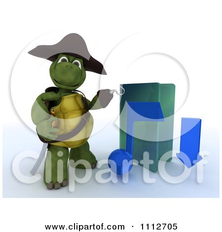 Clipart 3d Illegal Mp3 Music Download Hook Hand Tortoise Pirate With A Blue Folder - Royalty Free CGI Illustration by KJ Pargeter