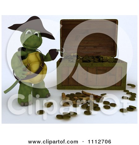 Clipart 3d Tortoise Pirate Presenting A Treasure Chest With Coins - Royalty Free CGI Illustration by KJ Pargeter