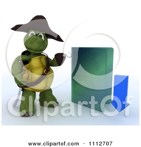 Clipart 3d Illegal Download Tortoise Pirate With A Blue Folder - Royalty Free CGI Illustration by KJ Pargeter