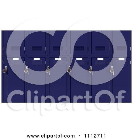 3d Blue School Lockers With Locks Posters, Art Prints