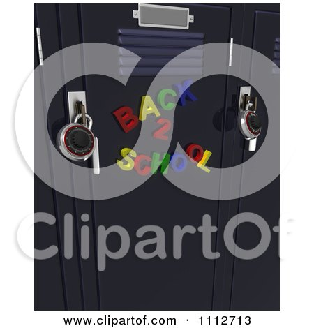 3d Colorful Back To School Magnets On Lockers With Locks Posters, Art Prints