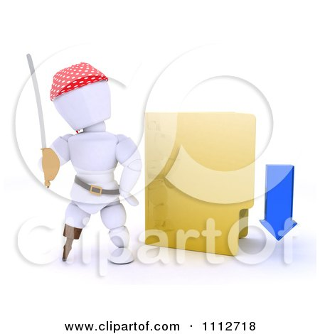 Clipart 3d Illegal Download White Character Pirate With A Yellow Folder - Royalty Free CGI Illustration by KJ Pargeter