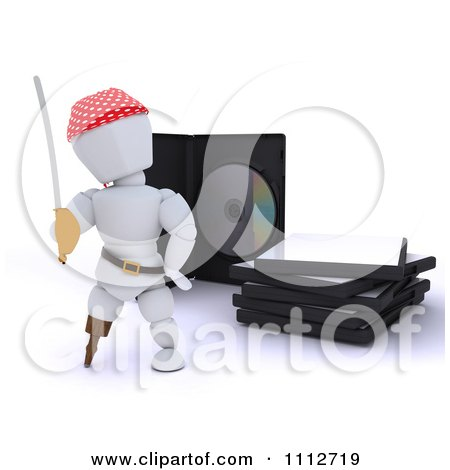 Clipart 3d Movie Or Software White Character Pirate With Illegal Bootleg Packaging - Royalty Free CGI Illustration by KJ Pargeter