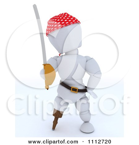 Clipart 3d White Character Pirate With A Peg Leg And Sword - Royalty Free CGI Illustration by KJ Pargeter