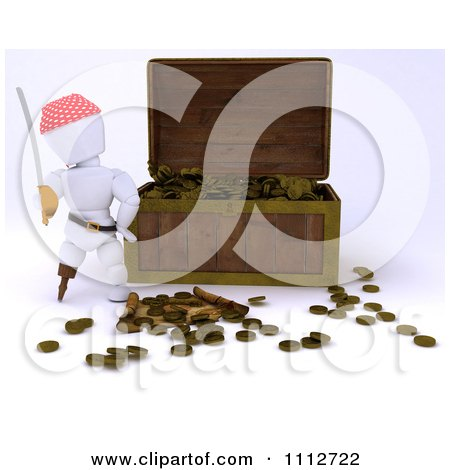 Clipart 3d White Character Pirate And Treasure Chest Full Of Coins - Royalty Free CGI Illustration by KJ Pargeter