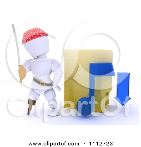 Clipart 3d Illegal Music Download Pirate White Character By A Folder - Royalty Free CGI Illustration by KJ Pargeter