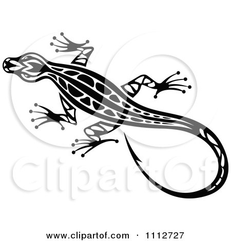 Clipart Black And White Tribal Lizard 10 - Royalty Free Vector Illustration by Vector Tradition SM