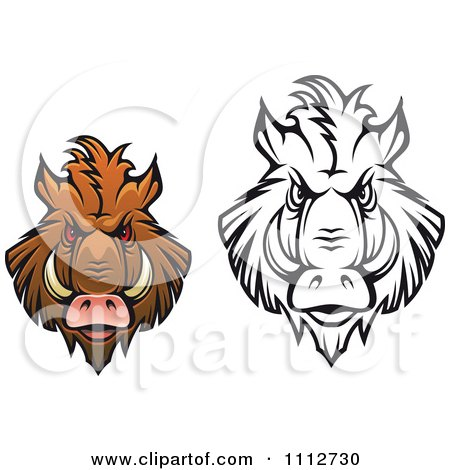 Clipart Black And White And Colored Angry Boar Heads - Royalty Free Vector Illustration by Vector Tradition SM