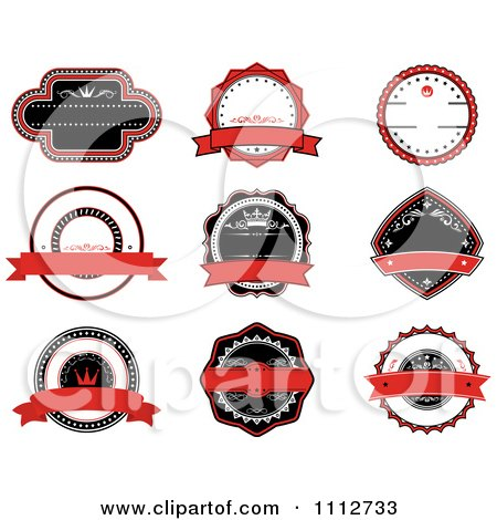 Clipart Red Black And White Retro Labels - Royalty Free Vector Illustration by Vector Tradition SM