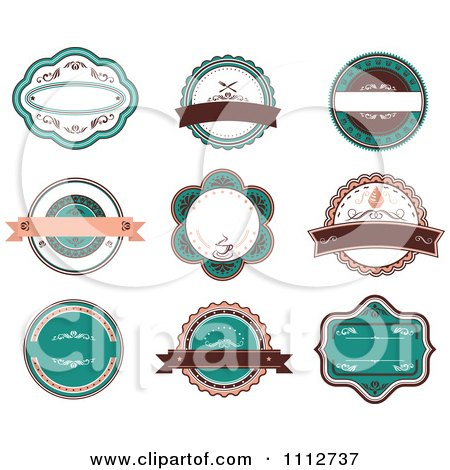 Clipart Retro Turquoise And Brown Restaurant Labels - Royalty Free Vector Illustration by Vector Tradition SM