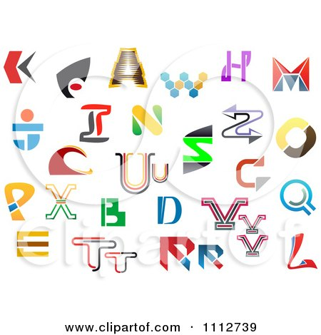 Clipart Abstract Colorful Letters A Through Z 9 - Royalty Free Vector Illustration by Vector Tradition SM