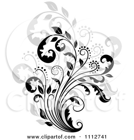 Clipart Black Floral Scroll Over Gray - Royalty Free Vector Illustration by Vector Tradition SM