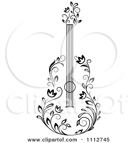 Clipart Black And White Floral Guitar 3 - Royalty Free Vector Illustration by Vector Tradition SM