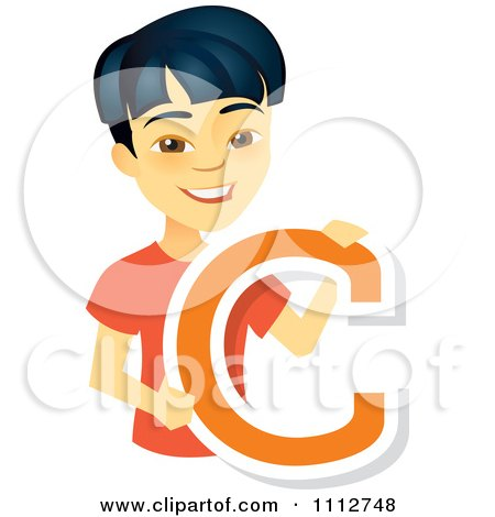 Clipart Happy Asian School Boy Holding A Letter C - Royalty Free Vector Illustration by Amanda Kate