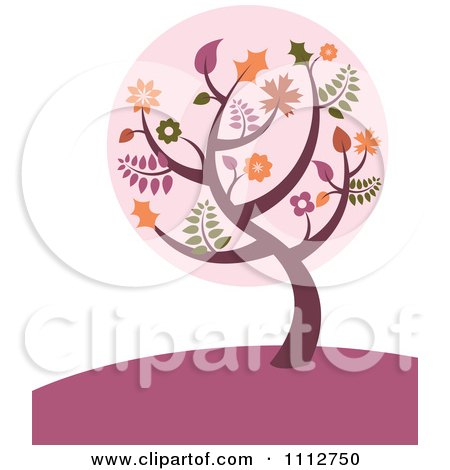 Clipart Fall Tree With Autumn Leaves On A Purple Hill - Royalty Free Vector Illustration by Amanda Kate