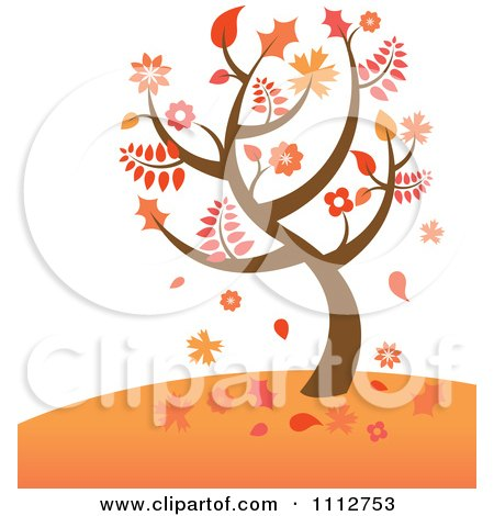 Clipart Autumn Tree With Falling Leaves On A Hill - Royalty Free Vector Illustration by Amanda Kate