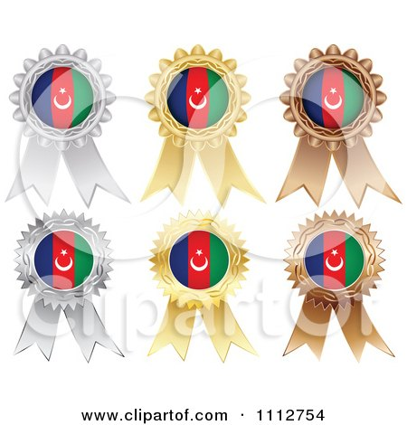 Clipart Silver Gold And Bronze Azerbaijan Flag Medals - Royalty Free Vector Illustration by Andrei Marincas