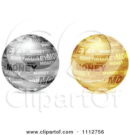 Clipart 3d Silver And Golden Money Collage Globes - Royalty Free Vector Illustration by Andrei Marincas