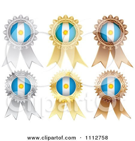 Clipart Silver Gold And Bronze Argentine Flag Medals - Royalty Free Vector Illustration by Andrei Marincas
