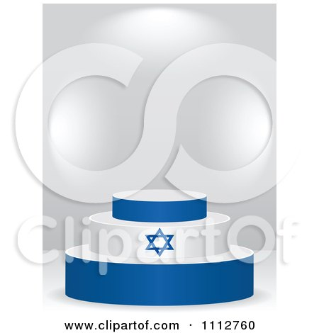 Clipart 3d Israeli Flag Podium On A Gray Background - Royalty Free Vector Illustration by Andrei Marincas