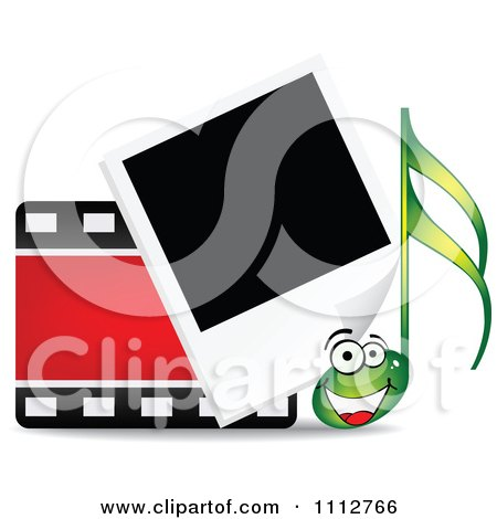Clipart Happy Music Note With A Film Strip And Instant Photograph - Royalty Free Vector Illustration by Andrei Marincas