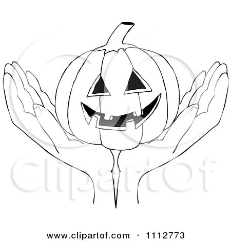 Clipart Outlined Hands Holding A Carved Halloween Jackolantern Pumpkin - Royalty Free Vector Illustration by djart