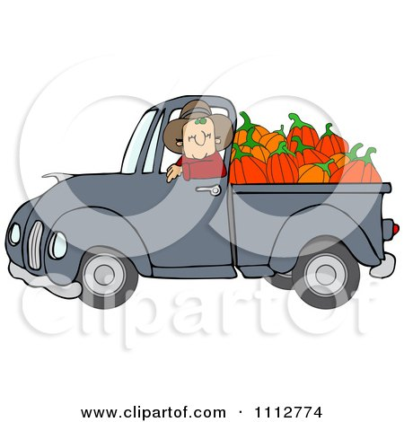 Clipart Cowboy Pumpkin Farmer Driving A Load In His Pickup Truck - Royalty Free Vector Illustration by djart