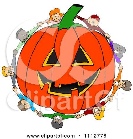 Clipart Diverse Kids Holding Hands Around A Carved Jackolantern Halloween Pumpkin - Royalty Free Vector Illustration by djart