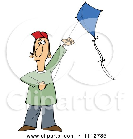 Clipart Guy Flying A Kite - Royalty Free Vector Illustration by djart