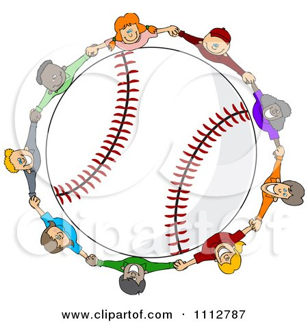 Clipart Diverse Kids Holding Hands Around A Baseball - Royalty Free Vector Illustration by djart
