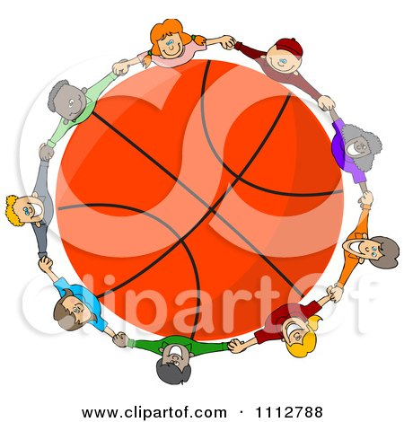Clipart Diverse Kids Holding Hands Around A Basketball - Royalty Free Vector Illustration by djart