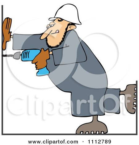 Clipart Construction Worker Man Using A Power Drill - Royalty Free Vector Illustration by djart
