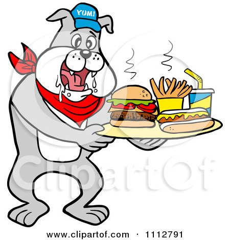 Clipart Bbq Bulldog Mascot Drooling Over A Tray With A Hot Dog Burger Fries And Soda - Royalty Free Vector Illustration by LaffToon
