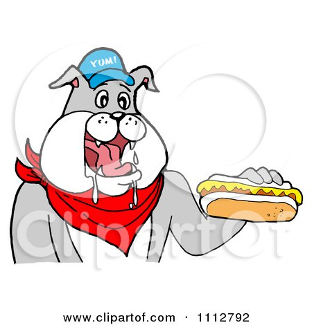 Clipart Bbq Bulldog Mascot Drooling Over A Hot Dog With Mustard - Royalty Free Vector Illustration by LaffToon