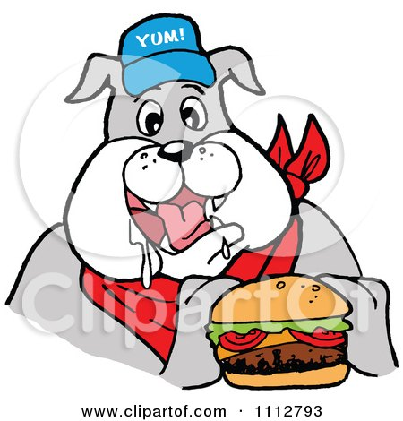 Clipart Bbq Bulldog Mascot Drooling Over A Cheeseburger - Royalty Free Vector Illustration by LaffToon