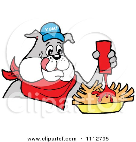 Clipart Bbq Bulldog Mascot Squirting Ketchup On French Fries - Royalty Free Vector Illustration by LaffToon