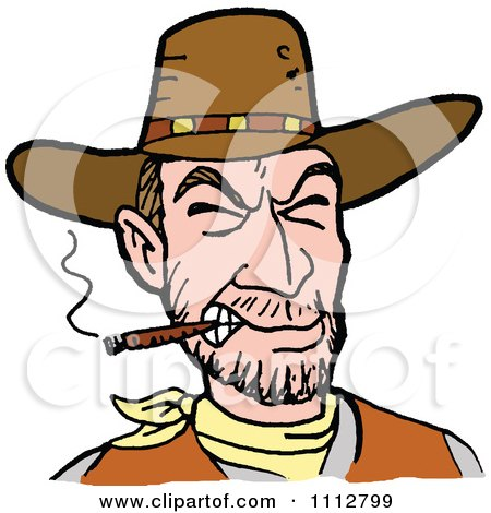 Clipart Western Cowboy Smoking A Cigar 1 - Royalty Free Vector Illustration by LaffToon