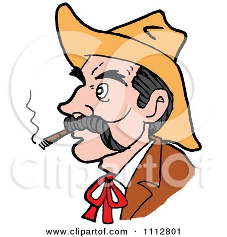 Clipart Western Cowboy Smoking A Cigar 2 - Royalty Free Vector Illustration by LaffToon