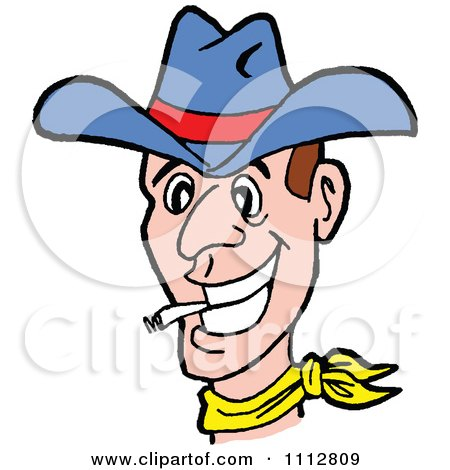 Clipart Western Cowboy Smoking A Cigarette - Royalty Free Vector Illustration by LaffToon