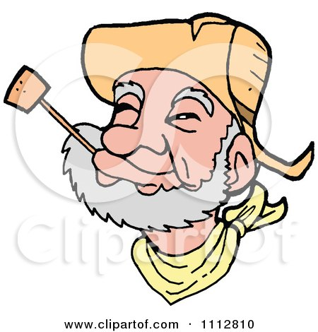 Clipart Western Cowboy Smoking A Pipe - Royalty Free Vector Illustration by LaffToon