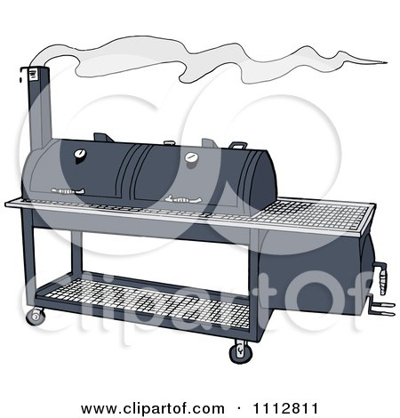 Clipart Double Smoker BBQ - Royalty Free Vector Illustration by LaffToon