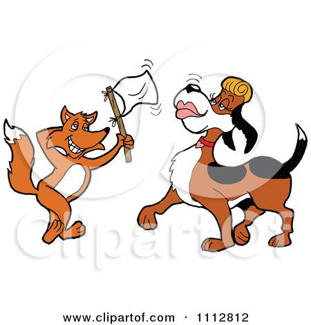 Clipart Fox Holding Up A White Flag And Flirting With A Female Blood Hound Dog - Royalty Free Vector Illustration by LaffToon