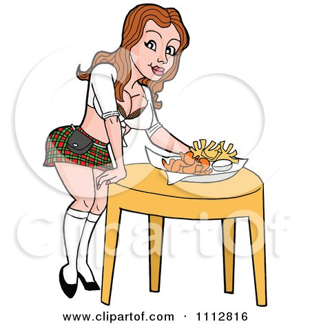Clipart Sexy Caucasian Breastaurant Waitress In A Plaid Skirt Setting Beer And Fries On A Table - Royalty Free Vector Illustration by LaffToon