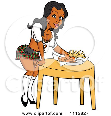 Clipart Sexy Black Breastaurant Waitress In A Plaid Skirt Setting Beer And Fries On A Table - Royalty Free Vector Illustration by LaffToon