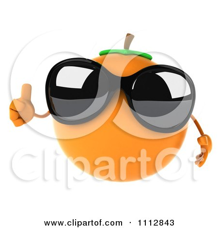 Clipart 3d Orange Wearing Sunglasses And Holding A Thumb Up - Royalty Free CGI Illustration by Julos