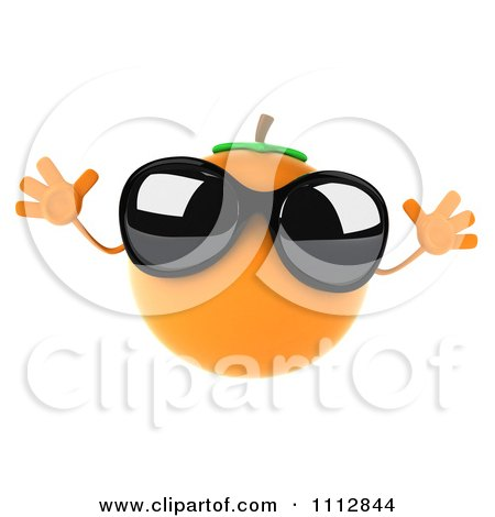 Clipart 3d Orange Wearing Sunglasses And Jumping - Royalty Free CGI Illustration by Julos