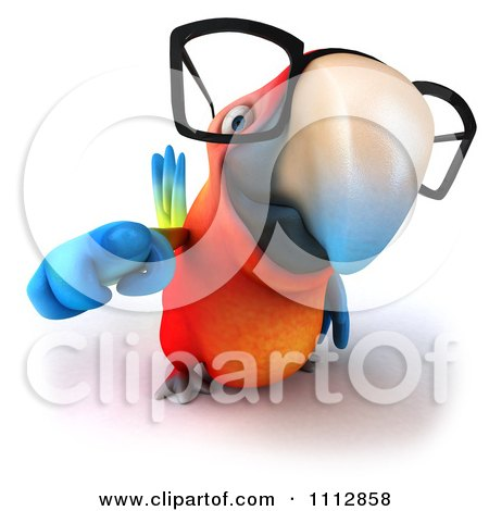 Clipart 3d Macaw Parrot Wearing Eye Glasses And Pointing Outwards - Royalty Free CGI Illustration by Julos