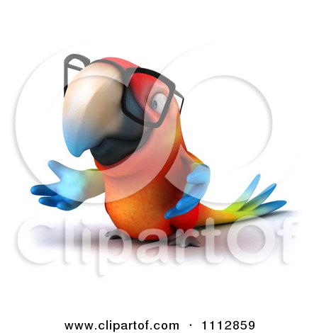 Clipart 3d Macaw Parrot Wearing Eye Glasses And Shrugging - Royalty Free CGI Illustration by Julos