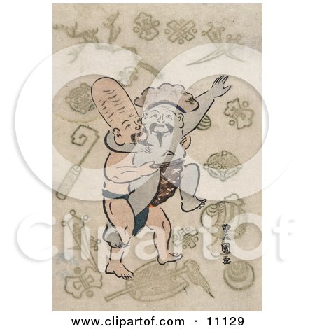 Two of the Seven Lucky Gods, Daikoku and and Fukurokuju, Sumo Wrestling Clipart Picture by JVPD