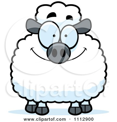 Clipart Smiling Happy Sheep - Royalty Free Vector Illustration by Cory Thoman